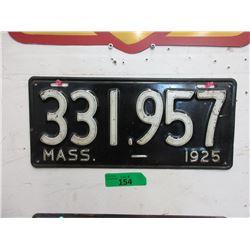 Rare USA 1925 Massachusetts License Plate