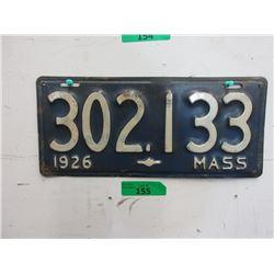 Rare USA 1926 Massachusetts License Plate