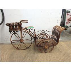 Bicycle Yard Planter - Wood and Metal
