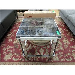 New Metal End Table with Marble Look Top