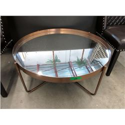 New Large Round Mirrored Tray Top Coffee Table