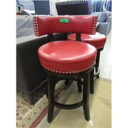 "New 24"" Red Swivel Stool - Leather Look"