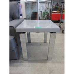 New Grey End Table with Silver Metal Legs
