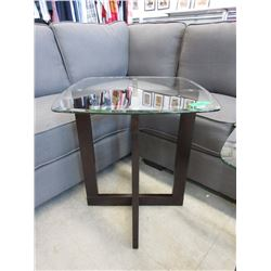 New End Table with Tempered Glass Top