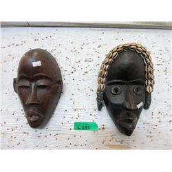 "2 Carved Wood African Wall Masks - 8"" x 11"""
