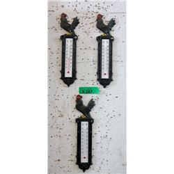 3 New Cast Metal Rooster Thermometers
