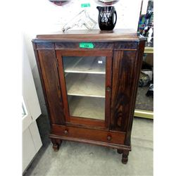 Vintage Wood Cabinet with Glass Doors