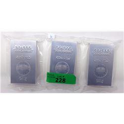 3 Geiger 250 Gram .999 Fine Aluminum Bars