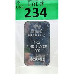 1 Oz. Republic Metals Corp .999 Silver Bar