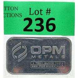 1 Oz. Ohio Precious Metals .999  Silver Bar
