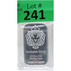 1 Oz Scottsdale Lion .999 Silver Bar
