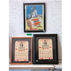 3 Framed 1950's Advertisements