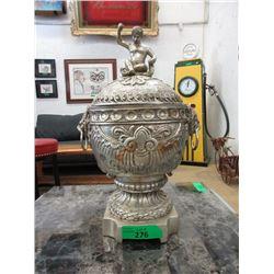 Vintage Nickel Plated Cast Brass Urn