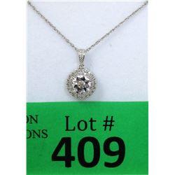 New .925 Italian Silver Diamond Necklace