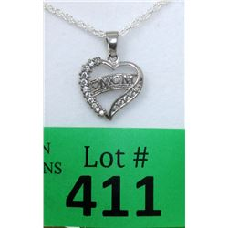 """New Sterling Silver """"Mom"""" Heart Necklace"""