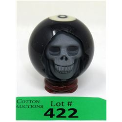 Carved 8 Ball Skull with Stand