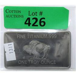 1 Troy Oz. .999 Fine Titanium Buffalo Bar