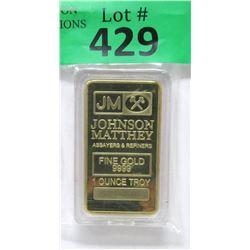 Gold Plated 1 Oz. Credit Johnson Matthey Bar
