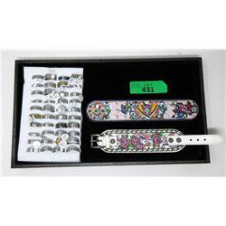 2 Ed Hardy Bracelets & 40 New Metal Rings