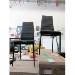 2 New Black Dining Chairs with Metal Frames