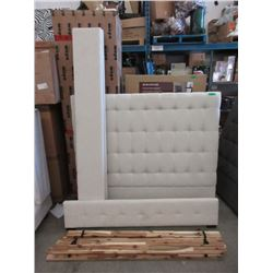 New Queen Size White Fabric Bed Frame