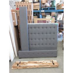 New Queen Size Grey Fabric Bed Frame