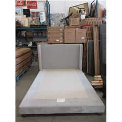 New Beige Fabric Upholstered Bed Frame