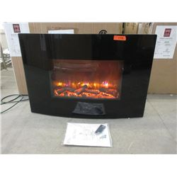 "New Dynasty 36"" Curved Wall Mount Fireplace - Logs"