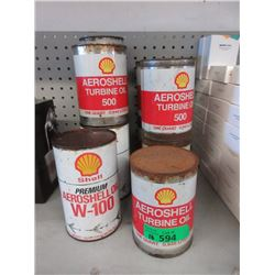 10 Shell One Quart Oil Cans - 5 Sealed & 5 Empty
