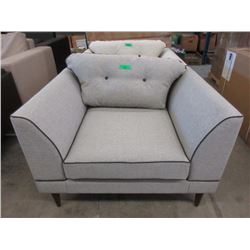 New Grey Fabric Arm Chair w/ Contrasting Piping