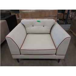 New Ivory Fabric Arm Chair w/ Contrasting Piping