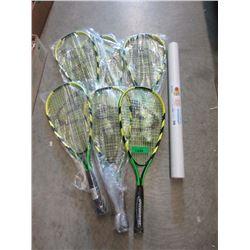 8 New Speed Badminton Rackets & Tube of 24 Birdies