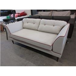New Ivory Fabric Loveseat  w/ Contrasting Piping