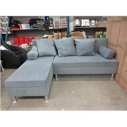 New SofaLab Blue Microfiber Condo Size Sofa Bed