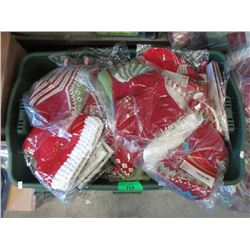 Large Tote of New Christmas Stocking and Decor