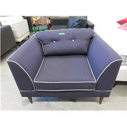 New Plum Fabric Arm Chair with Beige Piping