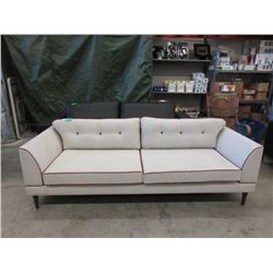 New Ivory Fabric Sofa w/ Contrasting Piping
