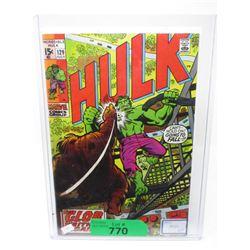 """1970 """"Hulk #129"""" 15¢ Marvel Comic"""