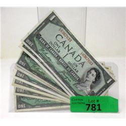 Ten 1954 Canadian One Dollar Bills