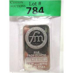 "5 Oz .999 Silver  First Majestic""  Investors Bar"