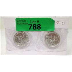Two 1/2 Oz. .999 Fine Silver Pan American Rounds
