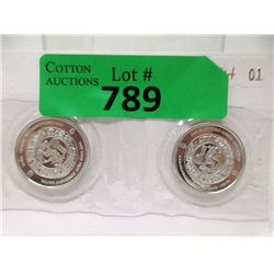 Two 1/2 Oz. .999 Fine Silver Mayan Design Rounds