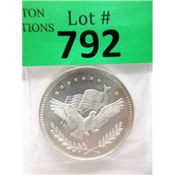 """1 Oz. .999 Silver """"American Eagle & Flag"""" Round"""