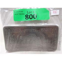 """10 Troy Oz. .999 Fine Titanium """"Buffalo"""" Bar"""