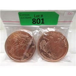 """Two 5 Oz. .999  Copper """"Walking Liberty"""" Rounds"""