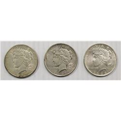 (3) PEACE SILVER DOLLARS