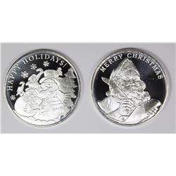 TWO DIFFERENT 2019 CHRISTMAS SILVER ROUNDS