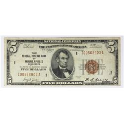 1929 $5.00 FEDERAL RESERVE BANK MINNEAPOLIS