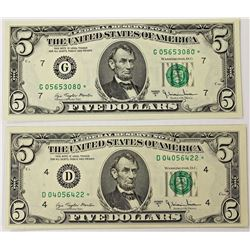 "TWO 1977-A $5.00 FEDERAL RESERVE ""STAR"" NOTES:"
