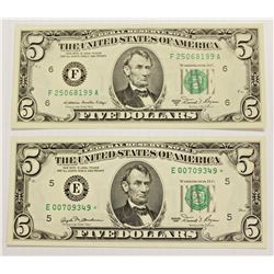 TWO 1981 $5.00 FEDERAL RESERVE NOTES